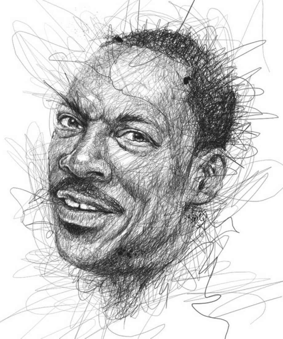 Scribble Drawing Celebrity Portrait By Vince Low : Fun stuff vince low s faces scribble series midroad