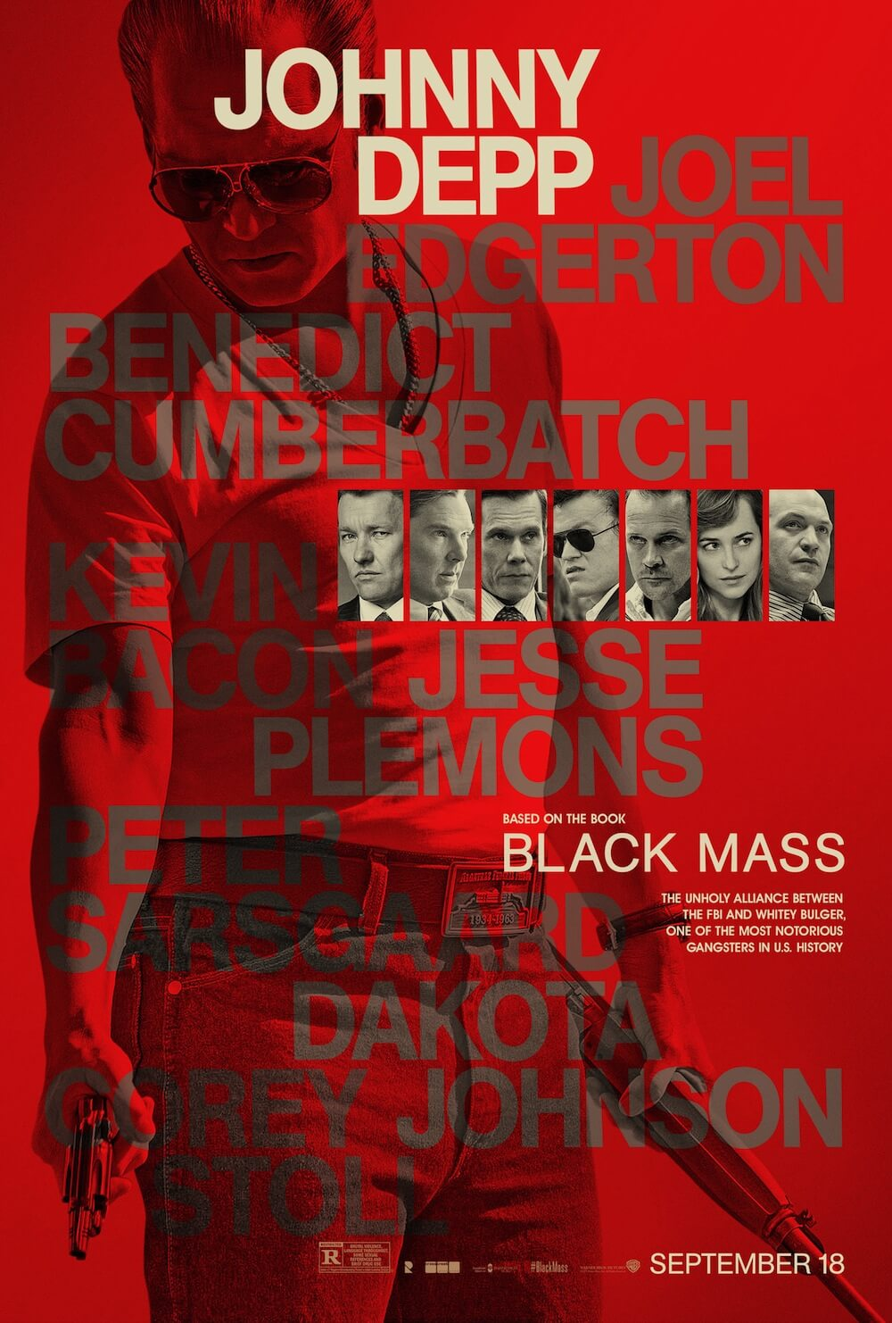 BLACK MASS character posters showcase the main cast in red