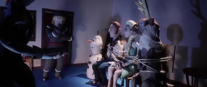 FROZEN claymation blood test scene parodies John Carpenter's movie The Thing